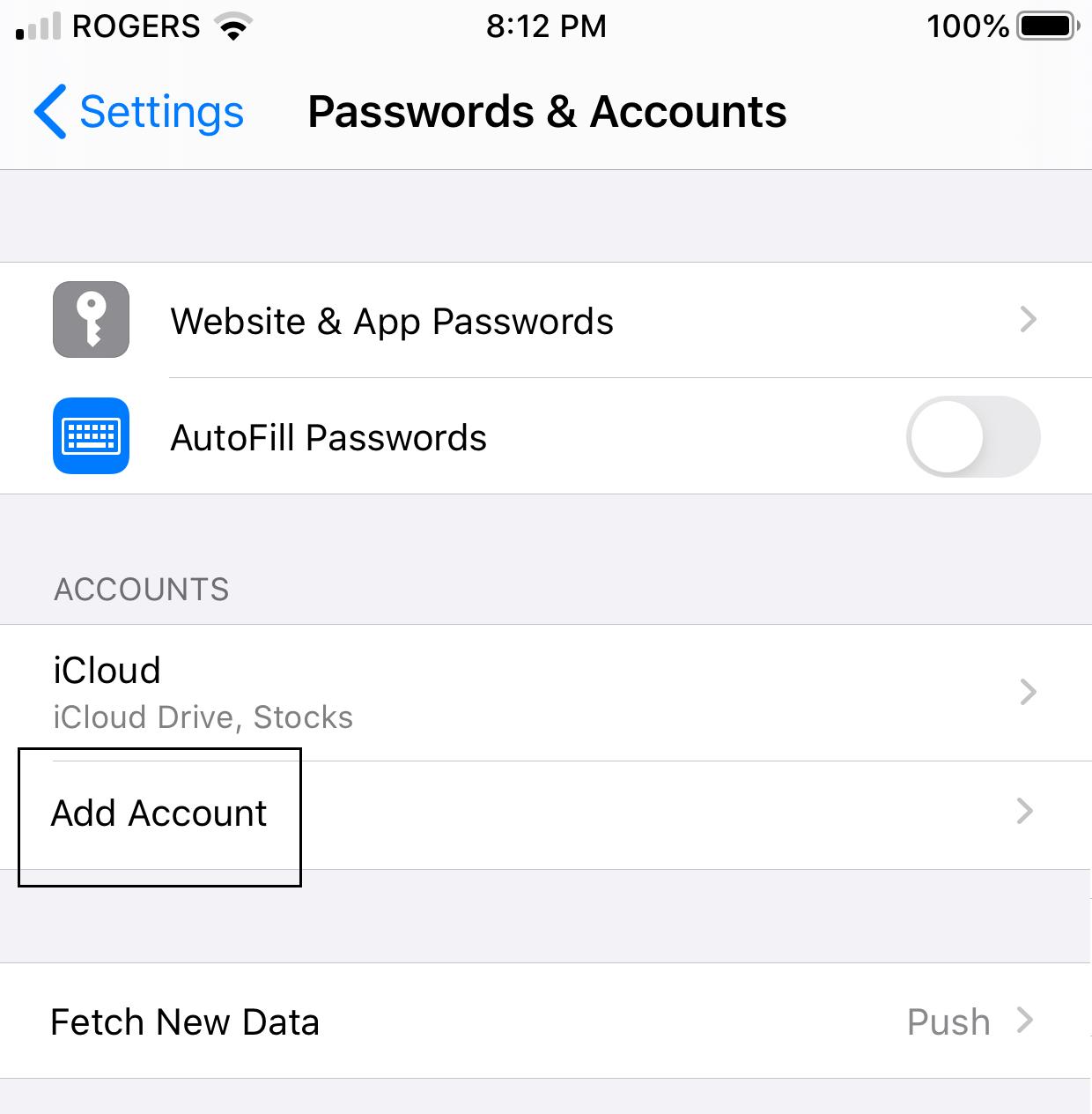 iOS Add Account